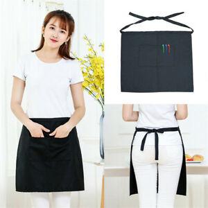 Black Short Money Apron With 2 Pockets Professional Waiter Server Pinny