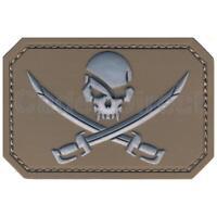 Skull & Crossed Swords Patch, Velcro Backed, MTP Tan