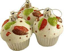 Cupcake ORNEMENTS, ensemble de 3 Sapin de noël pailleté BOULE décorations argent
