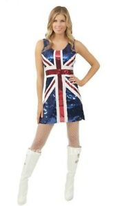 BLUE UNION JACK ENGLAND BLING SEQUINNED LADIES FANCY DRESS COSTUME SIZE 8-12 UK