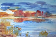 WATERCOLOR PAINTING AQUARELLE HAND PAINTED FALL ON LAKE for sale by artist