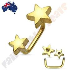 316L Surgical Steel Double Star Gold Ion Plated Lippy Loop/Eyebrow Ring