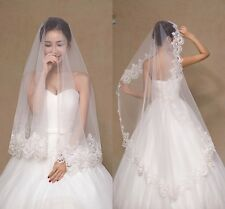New 1 Tier White/Ivory Lace Edge Wedding Bridal Veil With Comb Waist Length