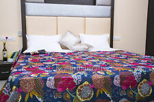Beautuful Traditional Indian Kantha Blanket Ralli Quilt Gypsy Bedspread Bedding