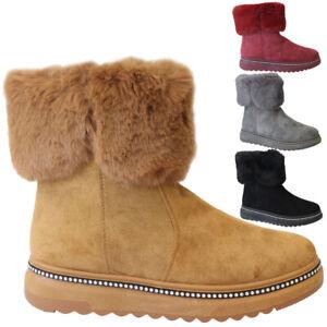 Ladies Snow Winter Ankle Boots Women Fur Snug Diamante Grip Sole Warm Shoes Size