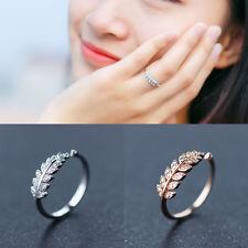 Damen Ring Blätter echt Silber 925 Zirkonia Rosegold Weißgold