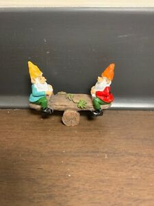 Fairy Garden Miniature Figurine - Red and Green Gnomes on a Seesaw