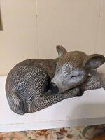 Sleeping Baby Fawn Deer Figurine Statue Ceramic Home Decor