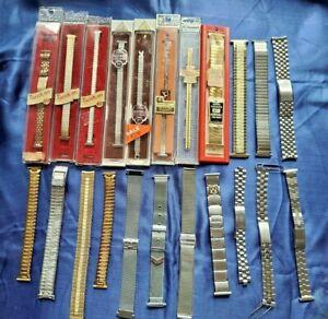 Lot 22 Vintage Watch Bands Speidel,Twist-O-Flex,JB,Brite Bands,Seiko,Edelstahl