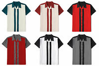 Mens Retro Stripe Cotton Casual Shirts Short Sleeve Rockabilly Bowling Shirts