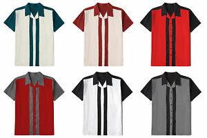 Mens Retro Stripe Cotton Casual Shirts Short Sleeve Rockabilly Bowling Shirts
