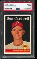 1958 Topps Baseball #372 DON CARDWELL Philadelphia Phillies PSA 7 NM