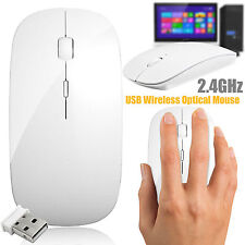 2.4 GHz Wireless Cordless White Mouse USB Optical Scroll for PC Laptop Computer