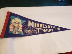 GORGEOUS 1960's Minnesota Twins Full Size 29 Inch Blue Pennant, NMMT!!