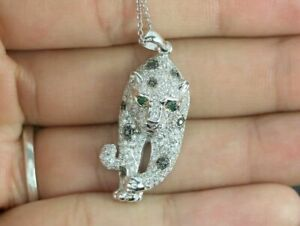 3D Effect Amazing Safari Panther Green & White Diamond 925 SterlingSIL Pendant
