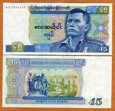 Myanmar / Burma, 45 Kyat ND (1987), P-64, UNC > General San