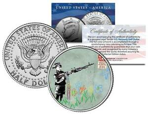 BANKSY * ART SHOOTER * Colorized JFK Half Dollar US Coin MACHINE GUN BOY Art