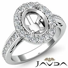 Halo Pave Set Diamond Engagement Oval Cut Semi Mount Ring 14k White Gold 1.3Ct
