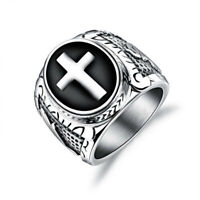 Retro Men's Titanium Steel Christian Holy Cross Prayer Ring Wedding Band Size