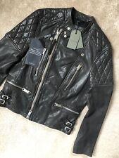 """All Saints Antracita Gris """"Slade"""" Cuero Biker Jacket Coat-Pequeño-Nuevo Etiquetas"""