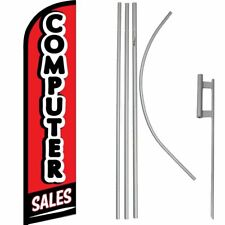 Computer Sales Red/Black/White Windless Banner Flag & 16' Flagpole Kit /Ground