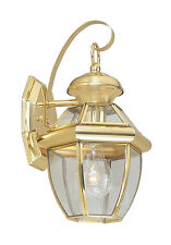 1 L Livex Monterey Outdoor Wall Sconce Polished Brass Lighting Fixture 2051-02