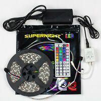 SUPERNIGHT™ 5050 300LED 5M RGB Waterproof Light Strip+44key Remote +Power Supply