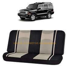 BEIGE/BLACK POLY MESH NET 2PC SPLIT BENCH SEAT COVER for JEEP COMPASS CHEROKEE