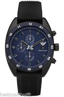 EMPORIO ARMANI BLACK RUBBER BLUE DIAL CHRONOGRAPH WATCH AR5930-NEW IN BOX