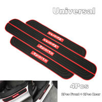 2pcs Front+2pcs Rear Car Door Rubber Scuff Sill Cover Trims Panel Step Protector