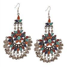 Crunchy Fashion Oxidised Silver Afghani Jewellery Earrings for Women-CFE0907