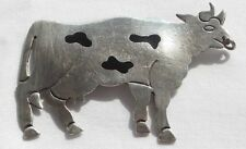Taxco Mexico Th-53 23.9 grams Sterling Silver Cow Brooch Pendant