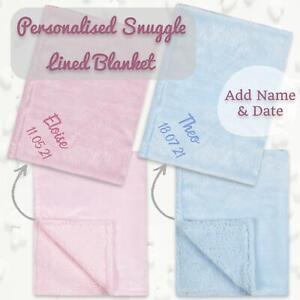 Personalised Newborn Baby Boys Girls Unisex Sherpa Blankets Cute Baby Gift Idea