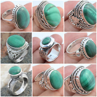MALACHITE HANDMADE RINGS IN 925 STERLING SILVER ALL SIZE AVAILABLE