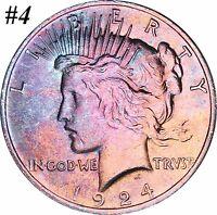 1924 Silver Peace Dollar Selection Lot BU MS Beautiful Rainbow Color Toned Gems