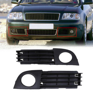 Pair Front Fog Light Grille Lower Bumper Bezel Cover for AUDI A6 C5 2002-2005