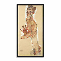 Egon Schiele Self Portrait with Splayed Fingers Long Framed Art Print