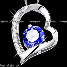 Heart Necklace with Sapphire Blue Diamond in the Centre Cute Gift Present 4 Girl