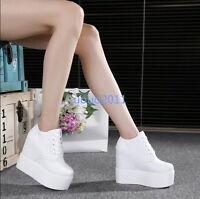New Womens 12cm High Wedge Heels Platform Girls Hidden Heel Lace Up Shoes Size