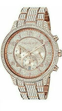 Michael Kors MK6635 Runway Pave crystals Rose Gold Tone Watch Retail $495 New