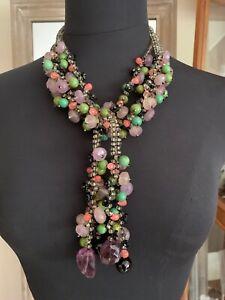 Stunning French Vintage Designer Multiple stones Necklace w. Amethyst, quartz...