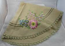VTG Hand Stitched Pink Blue Purple Flowers Embroidered Oval Table Topper Cloth