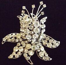"Large Adele Simpson Les Fleur Fuchsia Flower Brooch Circa 1940s Rhinestone 3"""