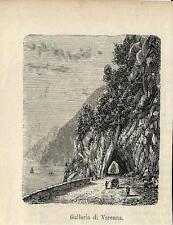 Stampa antica VARENNA veduta gallerie Lecco Lago di Como 1881 Old antique print