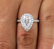 3.00 ct Pear Shape F/SI2 Diamond Solitaire Halo Engagement Ring 14K White Gold