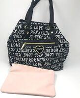 NWT Betsey Johnson Trap Tote Logo Overnight Travel Bag Black Metallic Large $108