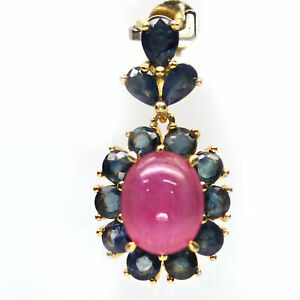 NATURAL 8 X 10 mm. PINK RUBY & BLUE SAPPHIRE 925 STERLING SILVER PENDANT