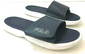 FILA Mens 11 Slides Navy Blue White Hook and Loop