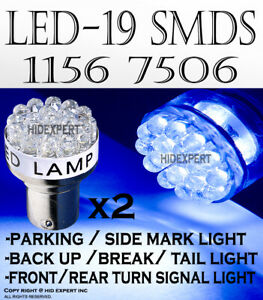 2 pairs 1156 1141 LED 19 SMDs Blue Replace Halogen Tail Brake Light Bulb B50