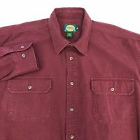 Cabela's Button Up Shirt Men's Size XL Long Sleeve Maroon Casual 100% Cotton